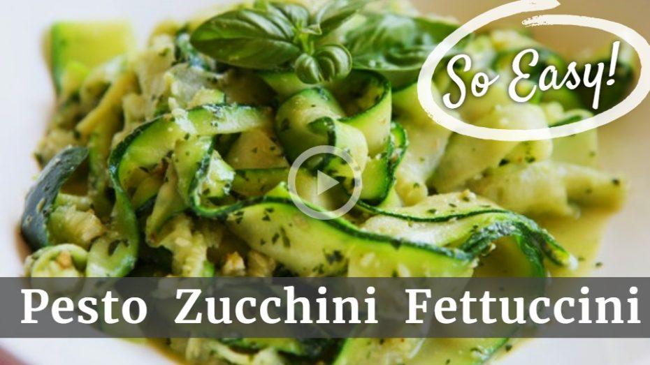 Enjoy natural, healthy pesto zucchini fettuccini.